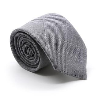 Zonettie by Ferrecci Zillo Grey Plaid Slim Necktie and Pocket Square Set