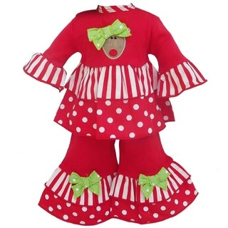 AnnLoren Christmas Reindeer Stripes/ Dots Outfit