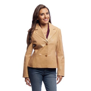 Women's Tan Glazed Cowskin Leather Blazer