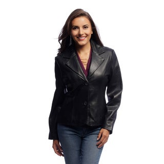 Women's Black Lambskin Leather Blazer