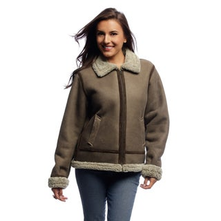 Women's Light Brown Lamb Shearling Bomber Jacket