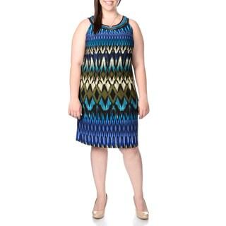 Sandra Darren Women's Plus Size Abstract Diamond Print Dress