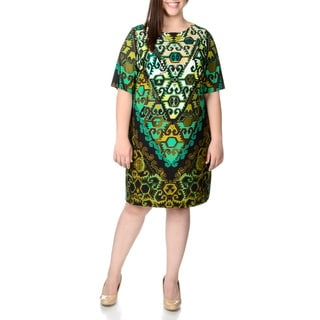 Sandra Darren Women's Plus Size Olive and Black Printed T-shirt Dress