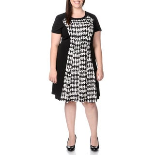 Sandra Darren Women's Plus Size Houndstooth Print A-line Dress
