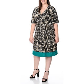 Sandra Darren Women's Plus Size Teal and Grey Fit-and-Flare Dress