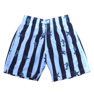 Boys 'All Aboard' Blue and White Sea Pattern Shorts