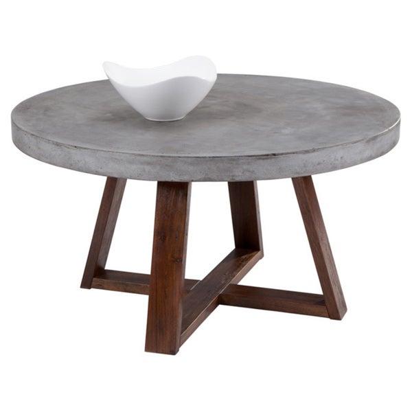 Sunpan Devons Rustic Concrete Round Coffee Table
