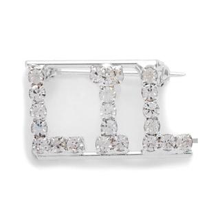 Silvertone White Crystal Lil Name Pin