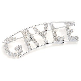 Silverplated White Crystal Gayle Name Pin