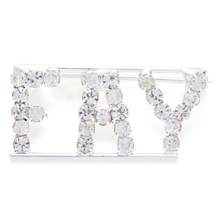 Detti Originals Silver 'FAY' Crystal Name Pin