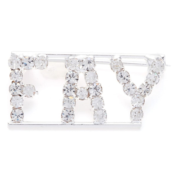 Silvertone White Crystal Fay Name Pin
