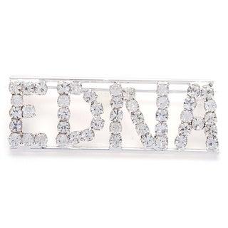 Detti Originals Silvertone White Crystal 'EDNA' Name Pin