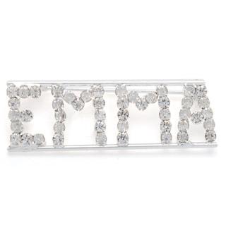 Silvertone White Crystal Emma Name Pin