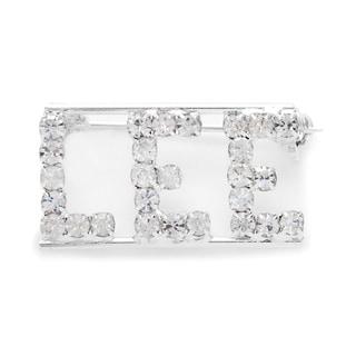 Silvertone White Crystal Lee Name Pin
