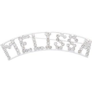 Silvertone White Crystal Melissa Name Pin