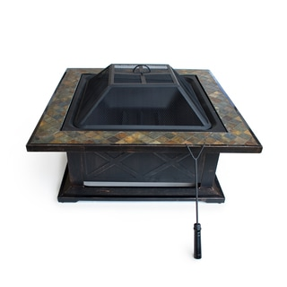 Outdoor Escapes 36-inch Square Slate Fire Pit Table