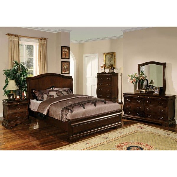 Furniture of america transitional style dark walnut for Furniture of america bed reviews