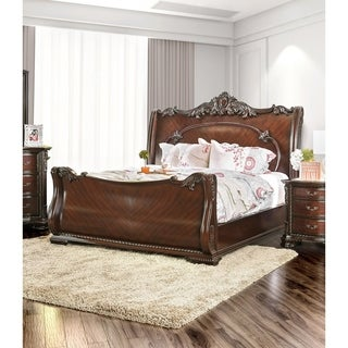 Furniture of America Luxury Brown Cherry Baroque Style Sleigh Bed
