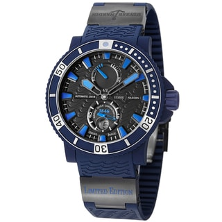 Ulysse Nardin Men's 263-97LE/3C 'Marine Maxi Diver' Black Dial Blue Rubber Strap Watch