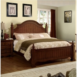 Furniture of America Light Walnut Four Poster Bed