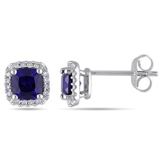 Miadora 10k White Gold Created Blue Sapphire and 1/10ct TDW Diamond Halo Earrings (H-I, I2-I3)