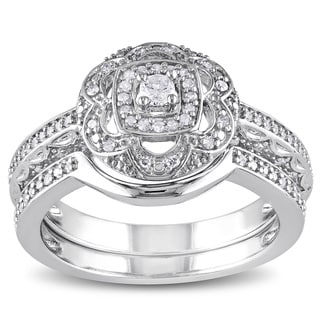 Miadora Sterling Silver 1/3ct TDW Diamond Floral Bridal Ring Set (H-I, I2-I3)