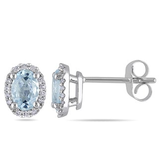 Miadora 10k White Gold Aquamarine and 1/10ct TDW Diamond Oval Earrings (H-I, I2-I3)