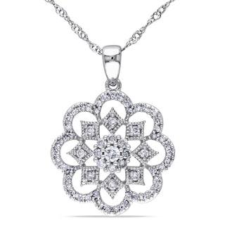 Miadora 10k White Gold 1/3ct TDW Diamond Flower Necklace (H-I, I2-I3)