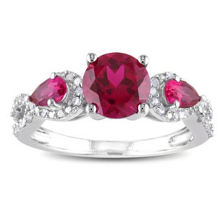Miadora Sterling Silver Created Ruby and 1/6ct TDW Diamond 3-stone Ring (H-I, I2-I3)