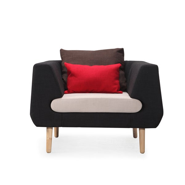 Dream Accent Black and White Chair with Red Throw Pillow