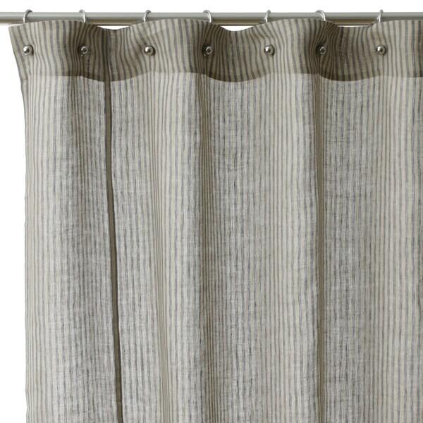 Linen stripe cotton shower curtain 16385793 overstock com shopping