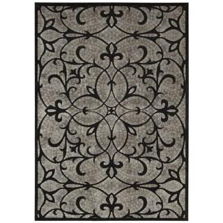 Nourison Graphic Illusions Black Area Rug (3'6 x 5'6)