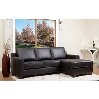 Abbyson Living Beverly Black Leather Sectional Sofa