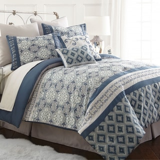 Cassia Blue Geometric 8-piece Comforter Set
