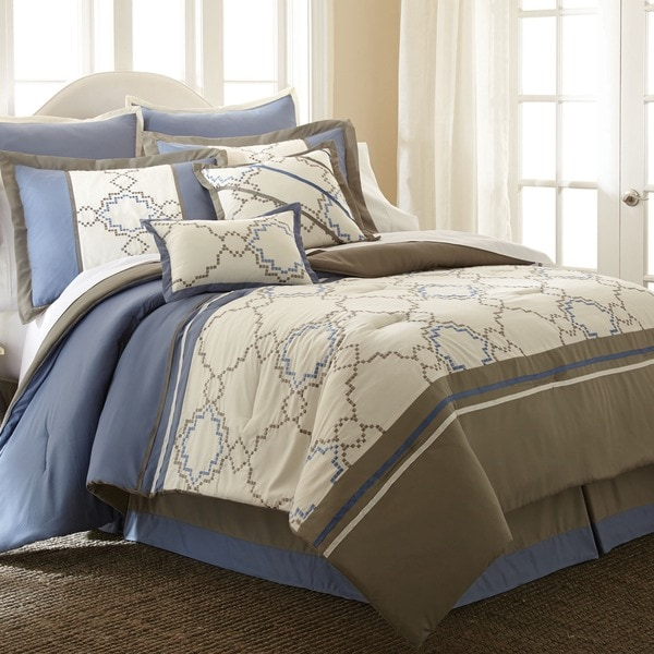 Talia Beige/ Blue 8-piece Embroidered Comforter Set