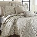 Lindsey Beige Floral 8-piece Jacquard Comforter Set