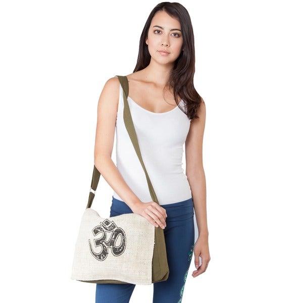 Hemp and Cotton Om Peace Messenger Bag (Nepal)
