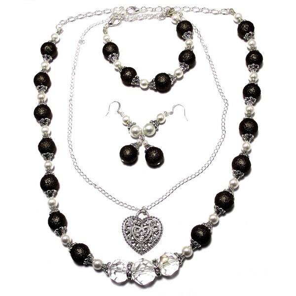 Textured Dark Chocolate Brown/ White Pearl and Crystal 4-piece Wedding Jewelry Set
