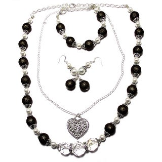 Textured Dark Chocolate Brown/ White Pearl and Crystal 4-piece Wedding Jewelry Set
