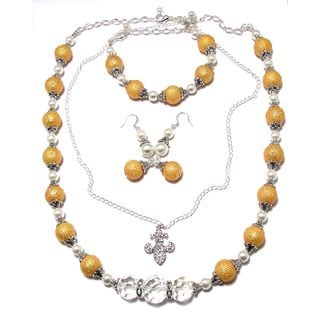Textured Goldtone/ White Glass Pearl 4-piece Wedding Jewelry Set