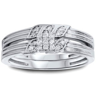 Bliss 10k White Gold 1/4ct TDW Diamond 2-piece Ring Set (I-J, I2-I3)