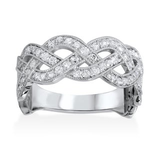 Bliss 14k White Gold 1ct TDW Diamond Braided High Polished Ring (G-H, I1-I2)
