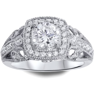 Bliss 14k White Gold Halo 1 1/3ct TDW Diamond Vintage-style Ring (H-I, I1-I2)