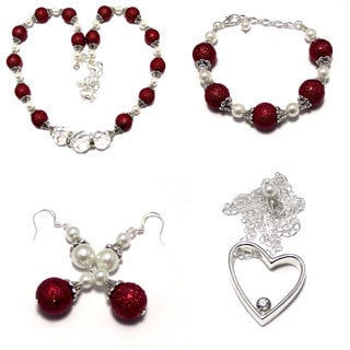 Textured Dark Red Glass Pearl and Clear Crystal 4-piece Wedding Jewelry Set