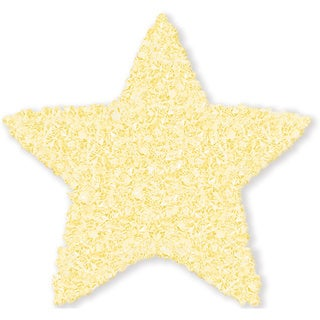 Shaggy Raggy Yellow Star Cotton Shag Rug (3' x 3')