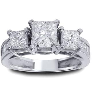 Bliss 14k White Gold 2ct TDW Diamond 3-stone Vintage-style Ring (G-H, I1-I2)