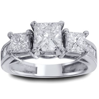 14k White Gold 2ct TDW Princess-cut Diamond 3-stone Vintage-style Ring (G-H, I1-I2)