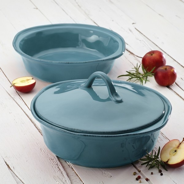 Rachael Ray Cucina Stoneware 3-piece Agave Blue Round Casserole and Lid Set 13326332