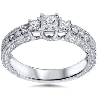 14k White Gold 3/4ct TDW Princess Diamond Vintage-style Ring (G-H, SI3)