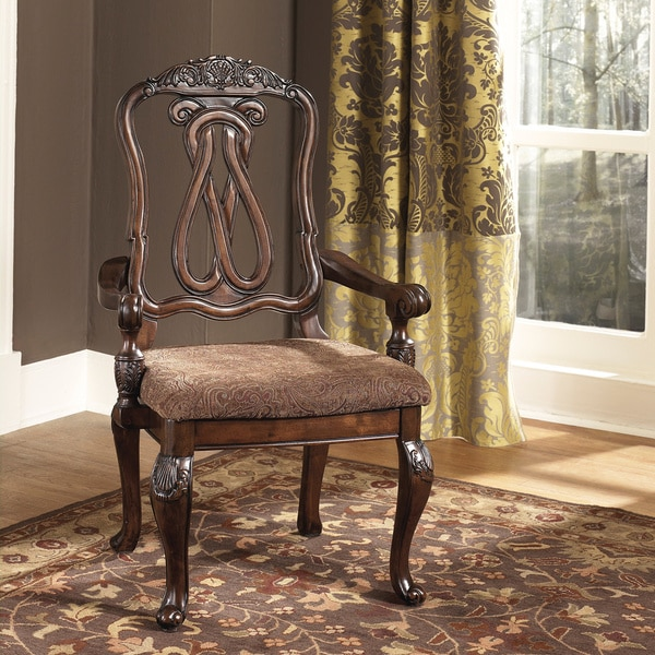 Signature Design by Ashley North Shore Dark Brown Dining Upholstered Arm Chair (Set of 2)